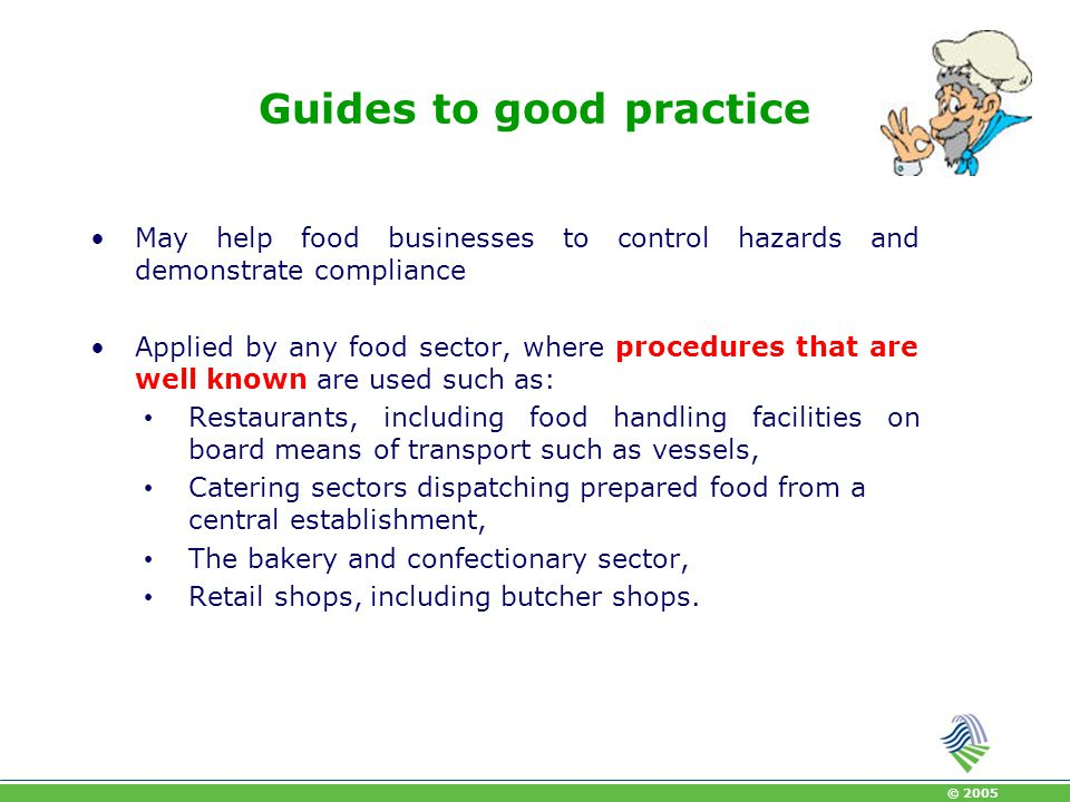 © 2005 Guides to good practice It may suffice that the guides describe in a practical and simple way the methods to control hazards Cover all significant hazards in a business and define procedures to control these hazards and the corrective action to be taken.