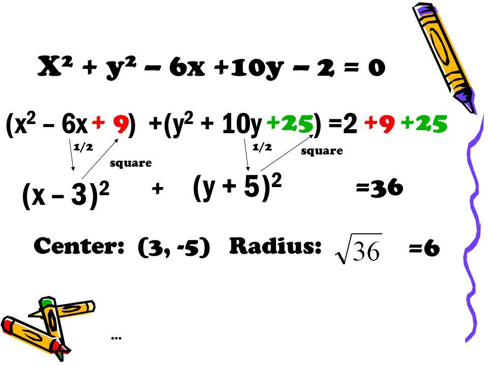 X 2 + y 2 – 6x +10y – 2 = 0 (x 2 – 6x ) +(y 2 + 10y ) =2 (x – 3) 2 + 9 (y + 5) 2 1/2 square +25 1/2 square =36 Center: (3, -5) Radius: =6 … +