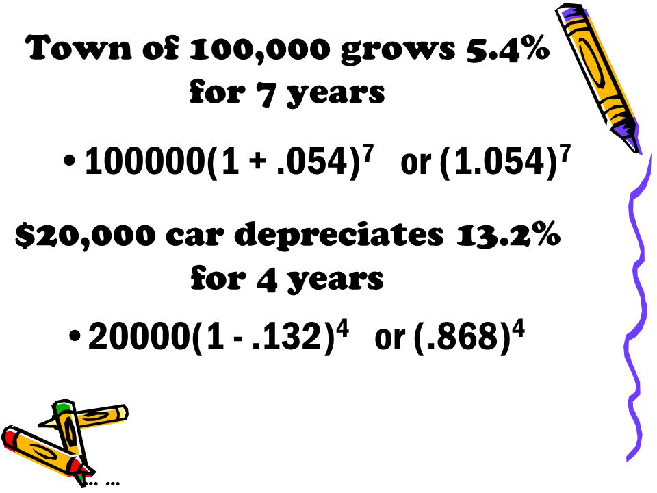 Growth rate of 5(1.036) x 3.6% {1.036-1 =.036 = 3.6%} Growth rate of 7(.84) x -16% {.84 - 1 = -.16 = -16% or depreciates 16%} … ……
