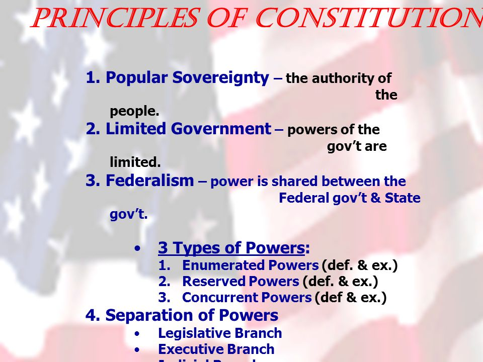 Principles of Constitution: 1. Popular Sovereignty – the authority of the people.