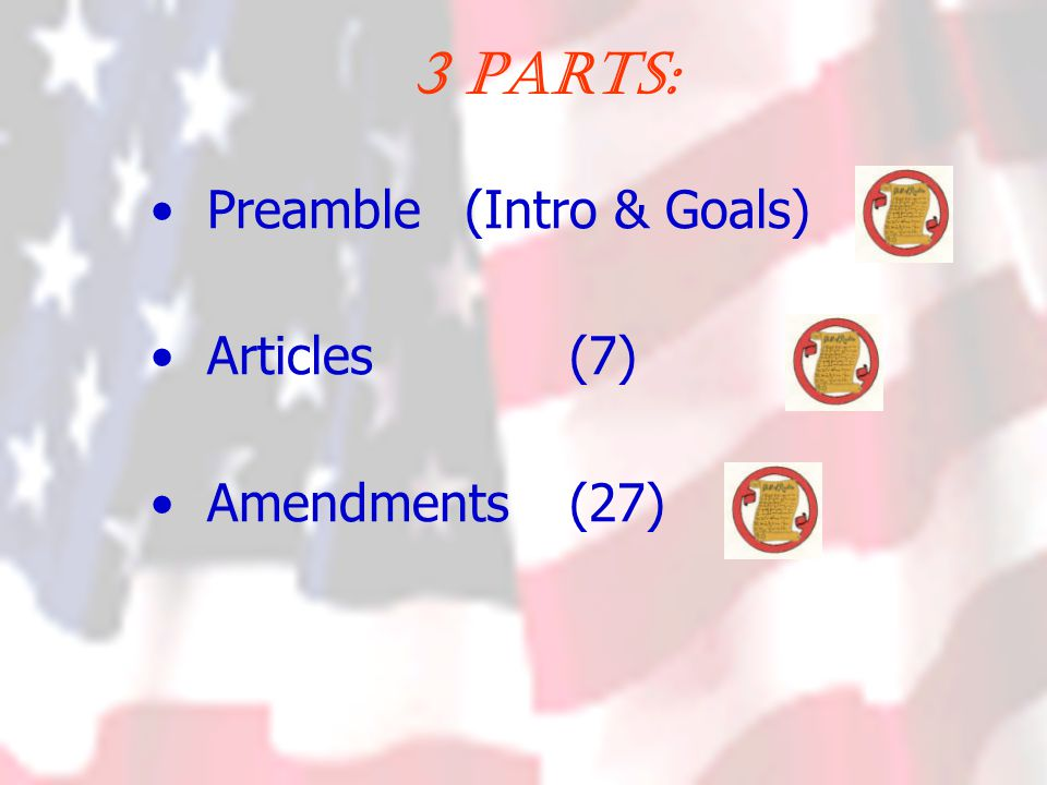 Preamble (Lists the Goals of our Government) Form a more Perfect Union Establish Justice Insure Domestic Tranquility Provide for the Common Defense Promote the General Welfare Secure the Blessings of Liberty
