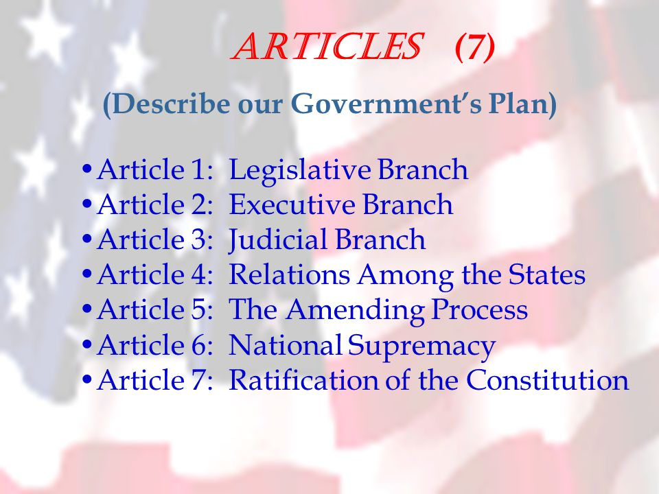 Articles (7) (Describe our Government's Plan) Article 1: Legislative Branch Article 2: Executive Branch Article 3: Judicial Branch Article 4: Relations Among the States Article 5: The Amending Process Article 6: National Supremacy Article 7: Ratification of the Constitution