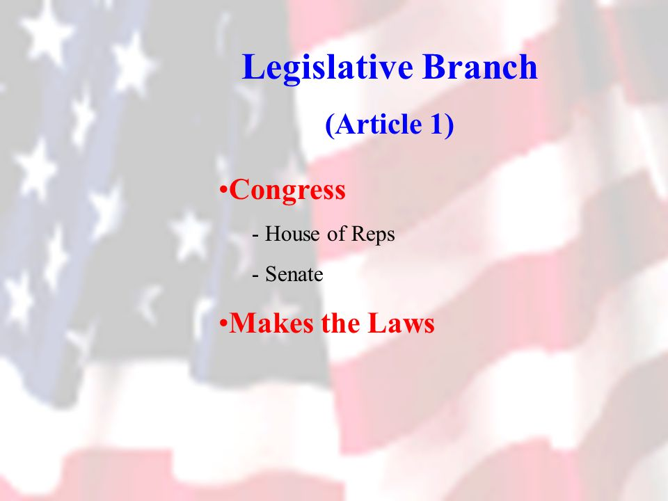 Legislative Branch (Article 1) Congress - House of Reps - Senate Makes the Laws