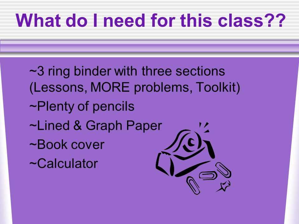 What do I need for this class?.