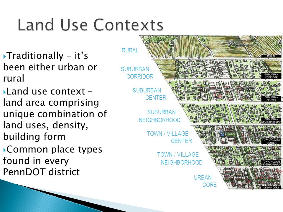 Land Use Contexts  Traditionally – it's been either urban or rural  Land use context – land area comprising unique combination of land uses, density