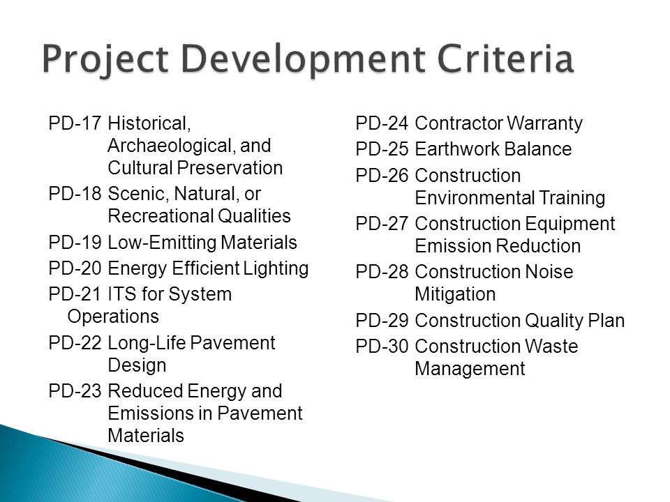 PD-17Historical, Archaeological, and Cultural Preservation PD-18Scenic, Natural, or Recreational Qualities PD-19Low-Emitting Materials PD-20Energy Eff
