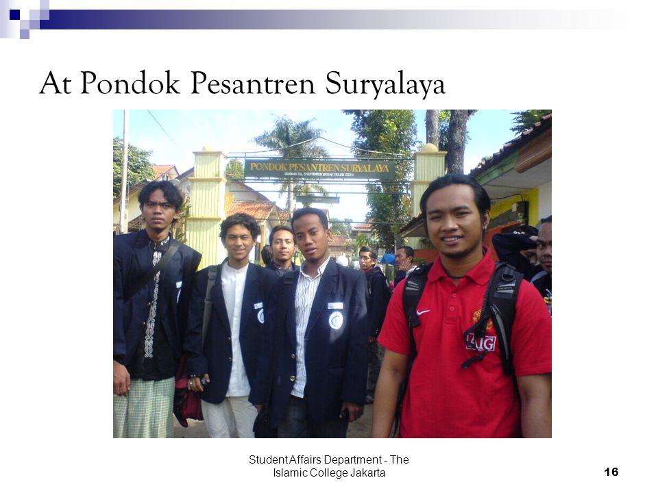 Student Affairs Department - The Islamic College Jakarta16 At Pondok Pesantren Suryalaya
