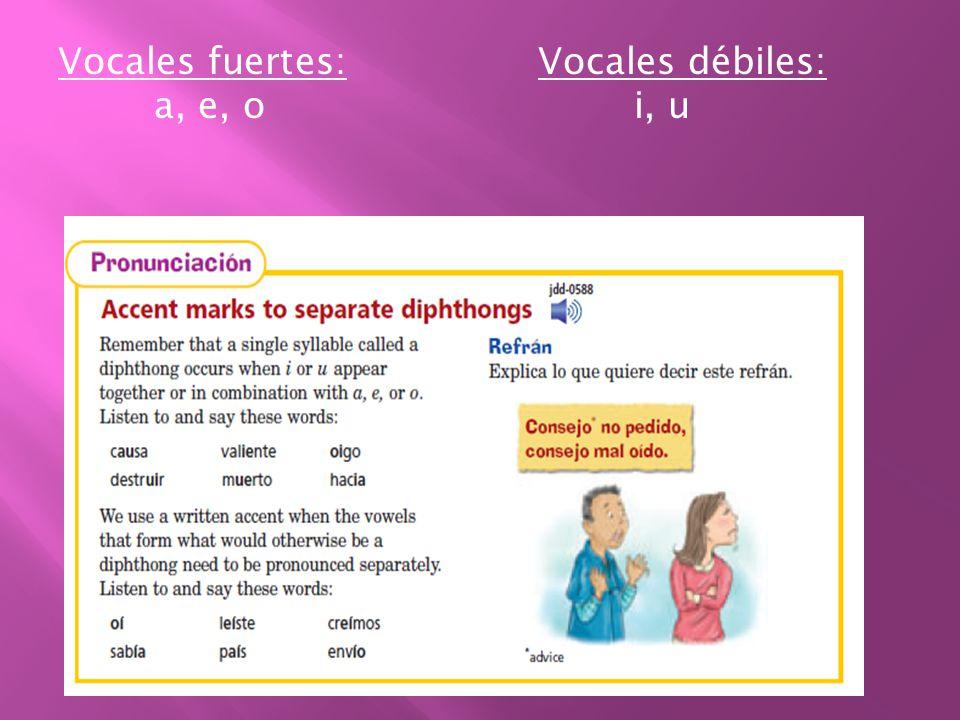 Vocales fuertes:Vocales débiles: a, e, oi, u