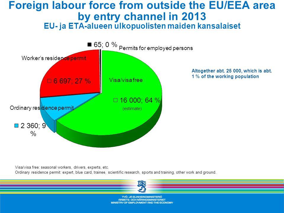 Foreign labour force from outside the EU/EEA area by entry channel in 2013 EU- ja ETA-alueen ulkopuolisten maiden kansalaiset Altogether abt.