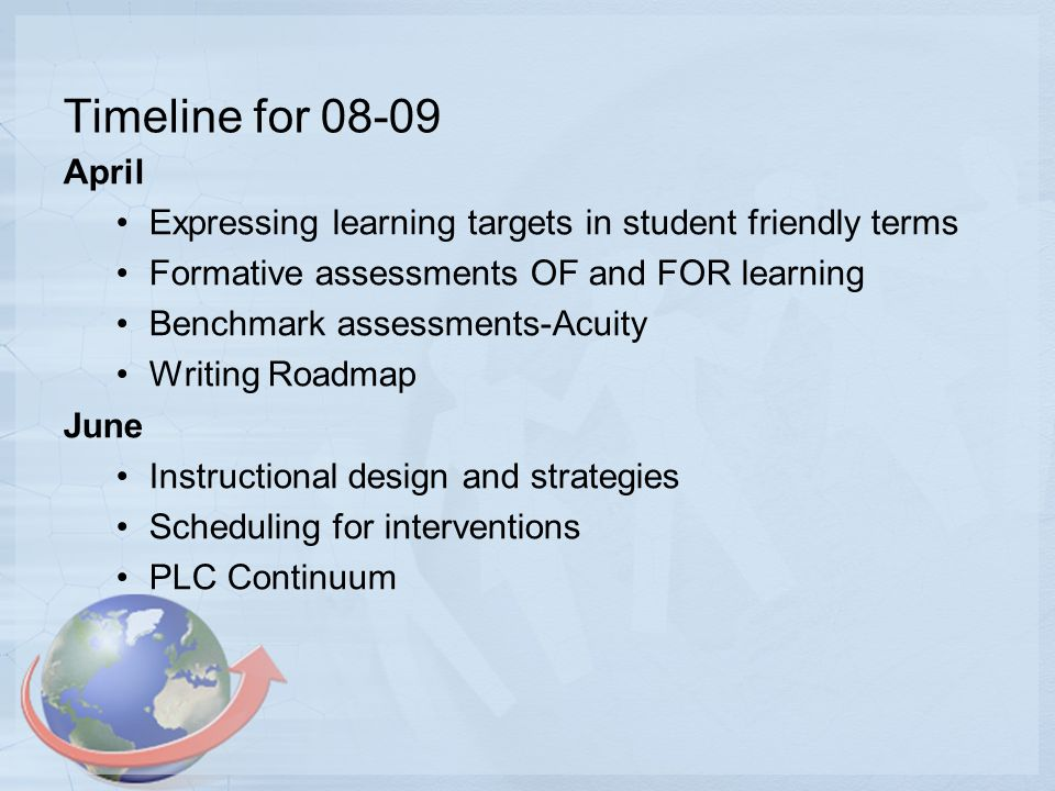 Timeline for 08-09 April Expressing learning targets in student friendly terms Formative assessments OF and FOR learning Benchmark assessments-Acuity Writing Roadmap June Instructional design and strategies Scheduling for interventions PLC Continuum