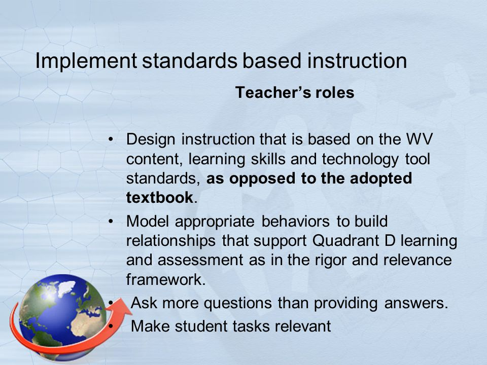 Implement standards based instruction Students' Roles Work effectively in groups.