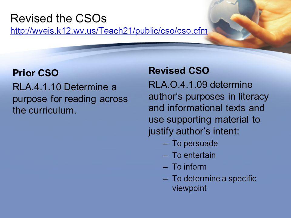 Prior CSO RLA.4.1.10 Determine a purpose for reading across the curriculum.