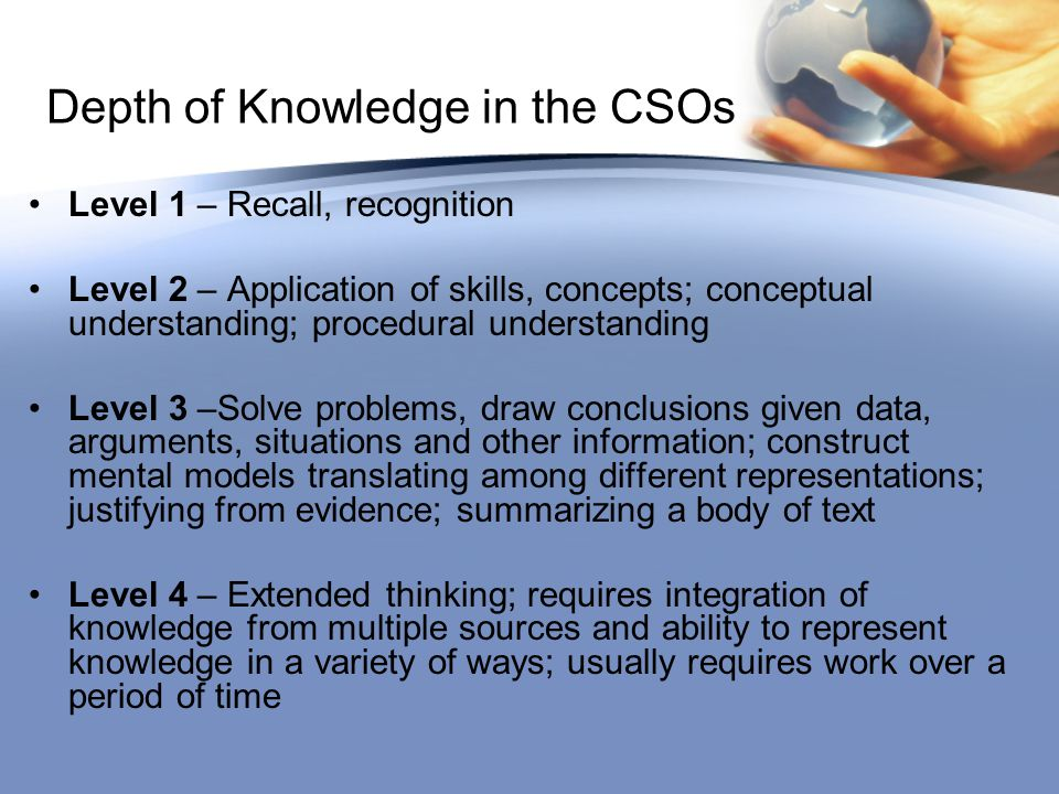 Depth of Knowledge in the CSOs Level 1 – Recall, recognition Level 2 – Application of skills, concepts; conceptual understanding; procedural understanding Level 3 –Solve problems, draw conclusions given data, arguments, situations and other information; construct mental models translating among different representations; justifying from evidence; summarizing a body of text Level 4 – Extended thinking; requires integration of knowledge from multiple sources and ability to represent knowledge in a variety of ways; usually requires work over a period of time