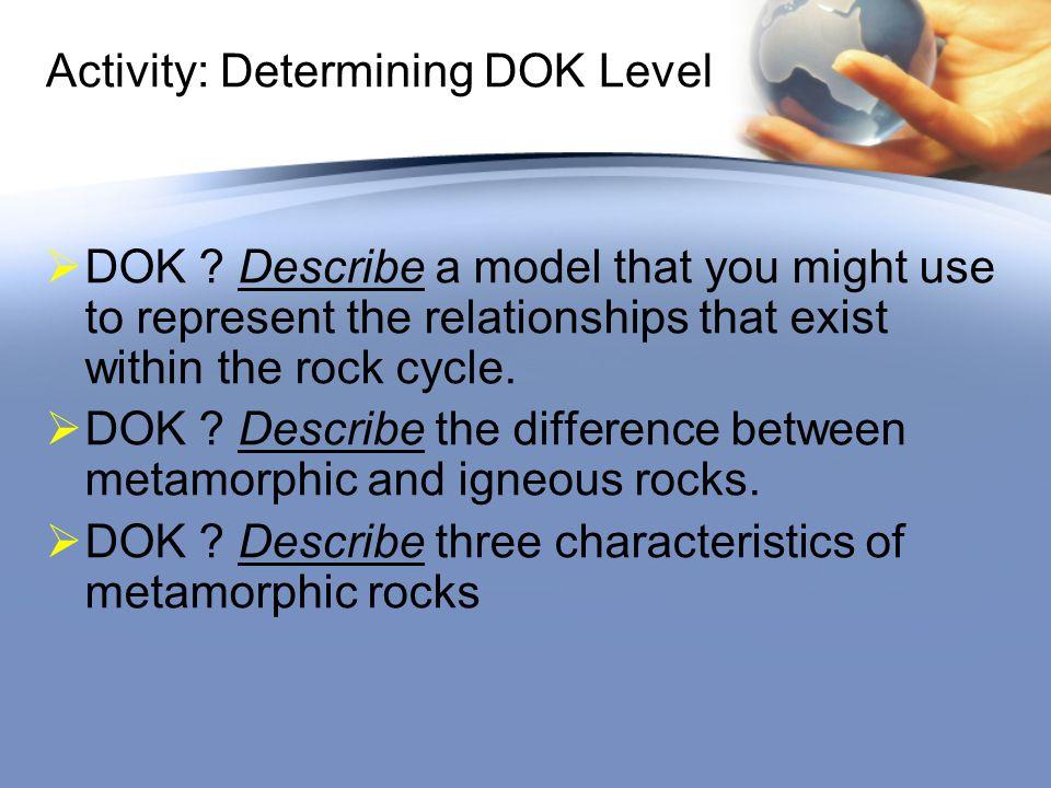 Activity: Determining DOK Level  DOK .