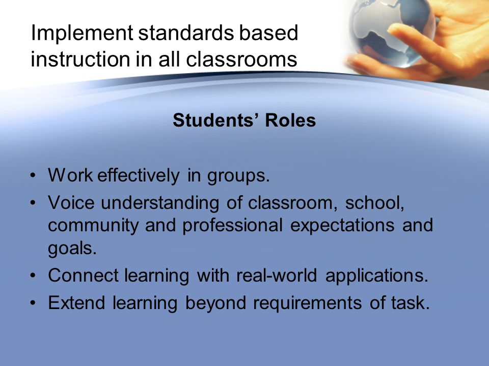 Students' Roles Work effectively in groups.