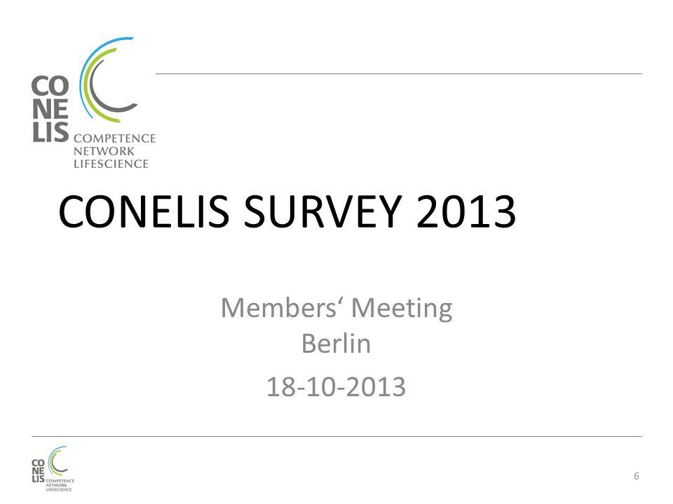 CONELIS SURVEY 2013 Members' Meeting Berlin 18-10-2013 6
