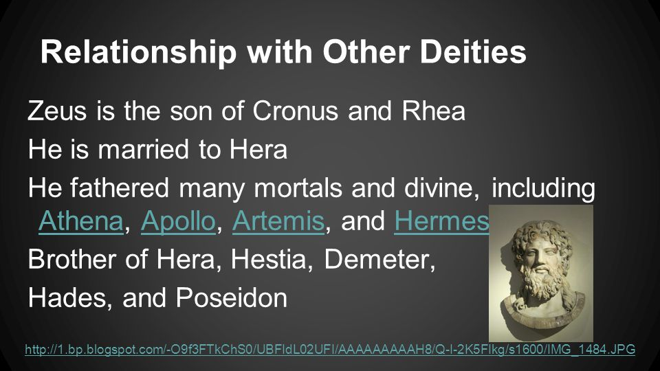 Relationship with Other Deities Zeus is the son of Cronus and Rhea He is married to Hera He fathered many mortals and divine, including Athena, Apollo, Artemis, and Hermes AthenaApolloArtemisHermes Brother of Hera, Hestia, Demeter, Hades, and Poseidon http://1.bp.blogspot.com/-O9f3FTkChS0/UBFIdL02UFI/AAAAAAAAAH8/Q-I-2K5FIkg/s1600/IMG_1484.JPG