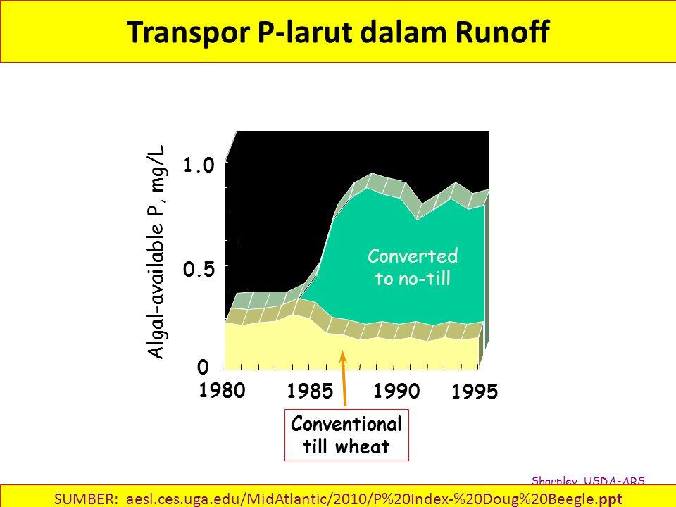Transpor P-larut dalam Runoff Conventional till wheat 1980 1985 1995 1990 Algal-available P, mg/L 0.5 1.0 0 Converted to no-till Sharpley, USDA-ARS SUMBER: aesl.ces.uga.edu/MidAtlantic/2010/P%20Index-%20Doug%20Beegle.ppt