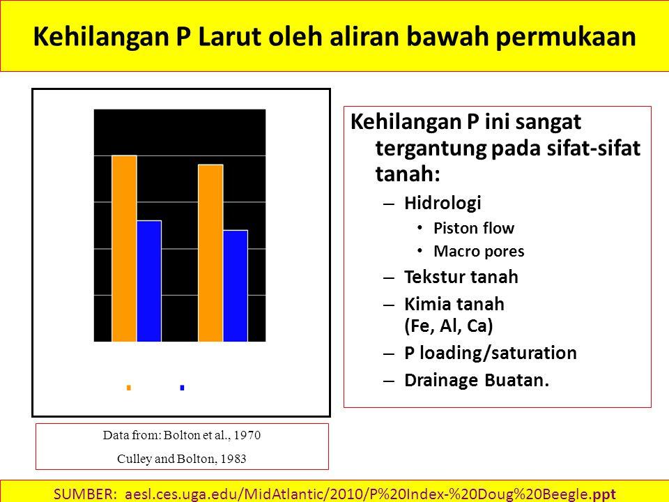 Kehilangan P Larut oleh aliran bawah permukaan Kehilangan P ini sangat tergantung pada sifat-sifat tanah: – Hidrologi Piston flow Macro pores – Tekstur tanah – Kimia tanah (Fe, Al, Ca) – P loading/saturation – Drainage Buatan.