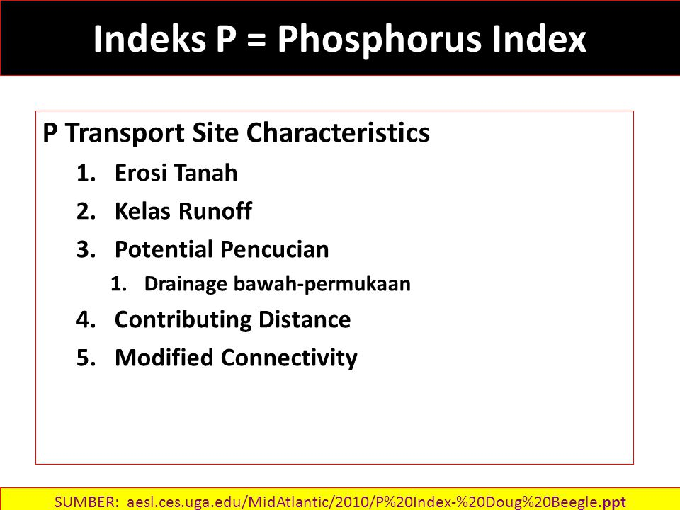 Indeks P = Phosphorus Index P Transport Site Characteristics 1.Erosi Tanah 2.Kelas Runoff 3.Potential Pencucian 1.Drainage bawah-permukaan 4.Contributing Distance 5.Modified Connectivity SUMBER: aesl.ces.uga.edu/MidAtlantic/2010/P%20Index-%20Doug%20Beegle.ppt‎