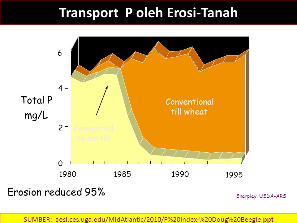 Transport P oleh Erosi-Tanah Erosion reduced 95% 198019851990 1995 Conventional till wheat Converted to no-till Total P mg/L 6 4 2 0 - - Sharpley, USDA-ARS SUMBER: aesl.ces.uga.edu/MidAtlantic/2010/P%20Index-%20Doug%20Beegle.ppt