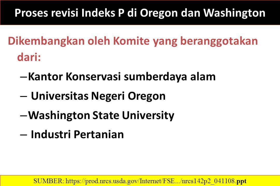 Proses revisi Indeks P di Oregon dan Washington Dikembangkan oleh Komite yang beranggotakan dari: – Kantor Konservasi sumberdaya alam – Universitas Negeri Oregon – Washington State University – Industri Pertanian SUMBER: https://prod.nrcs.usda.gov/Internet/FSE.../nrcs142p2_041108.ppt