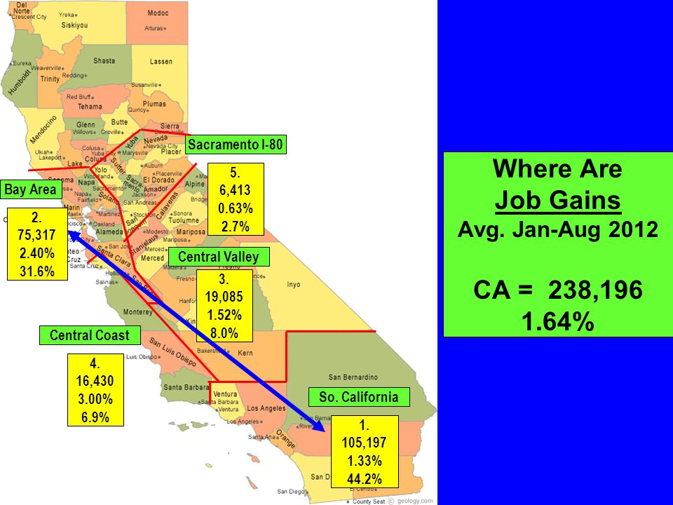 Where Are Job Gains Avg. Jan-Aug 2012 CA = 238,196 1.64% So.