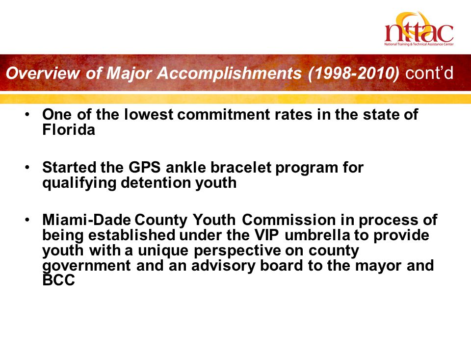 One of the lowest commitment rates in the state of Florida Started the GPS ankle bracelet program for qualifying detention youth Miami-Dade County You