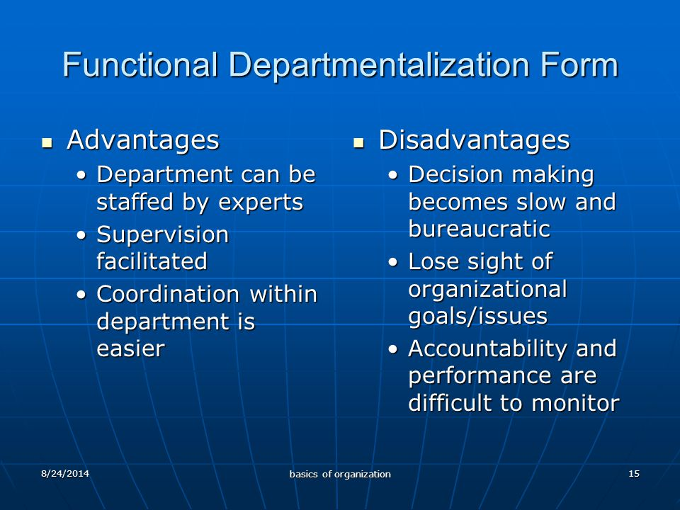 15 Functional Departmentalization Form Advantages Advantages Department can be staffed by expertsDepartment can be staffed by experts Supervision facilitatedSupervision facilitated Coordination within department is easierCoordination within department is easier Disadvantages Disadvantages Decision making becomes slow and bureaucratic Lose sight of organizational goals/issues Accountability and performance are difficult to monitor 8/24/2014 basics of organization