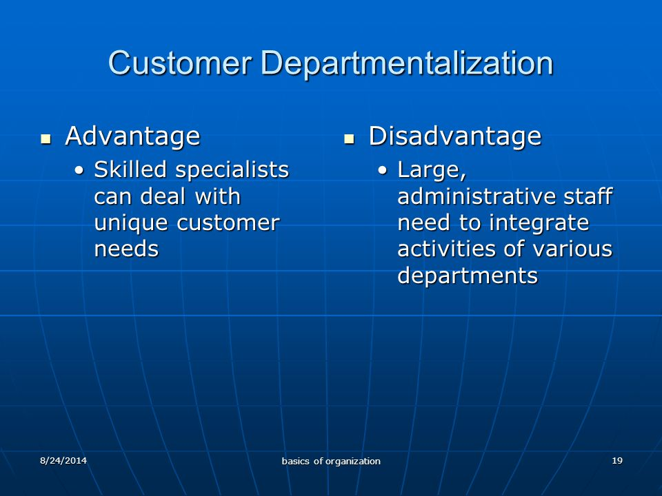 19 Customer Departmentalization Advantage Advantage Skilled specialists can deal with unique customer needsSkilled specialists can deal with unique customer needs Disadvantage Disadvantage Large, administrative staff need to integrate activities of various departments 8/24/2014 basics of organization
