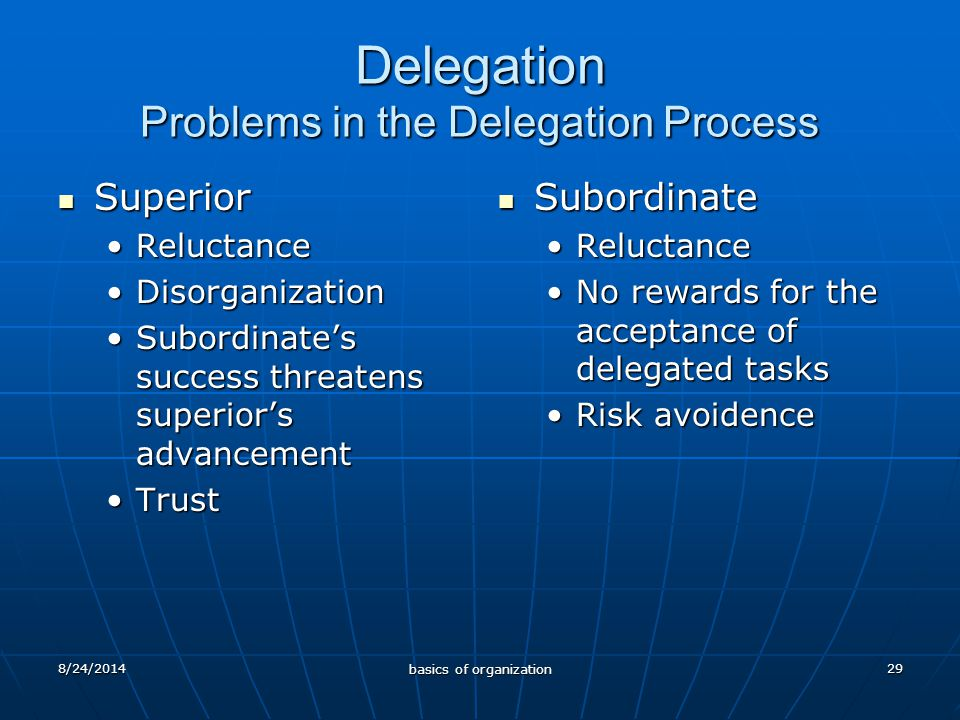 29 Delegation Problems in the Delegation Process Superior Superior ReluctanceReluctance DisorganizationDisorganization Subordinate's success threatens superior's advancementSubordinate's success threatens superior's advancement TrustTrust Subordinate Subordinate Reluctance No rewards for the acceptance of delegated tasks Risk avoidence 8/24/2014 basics of organization