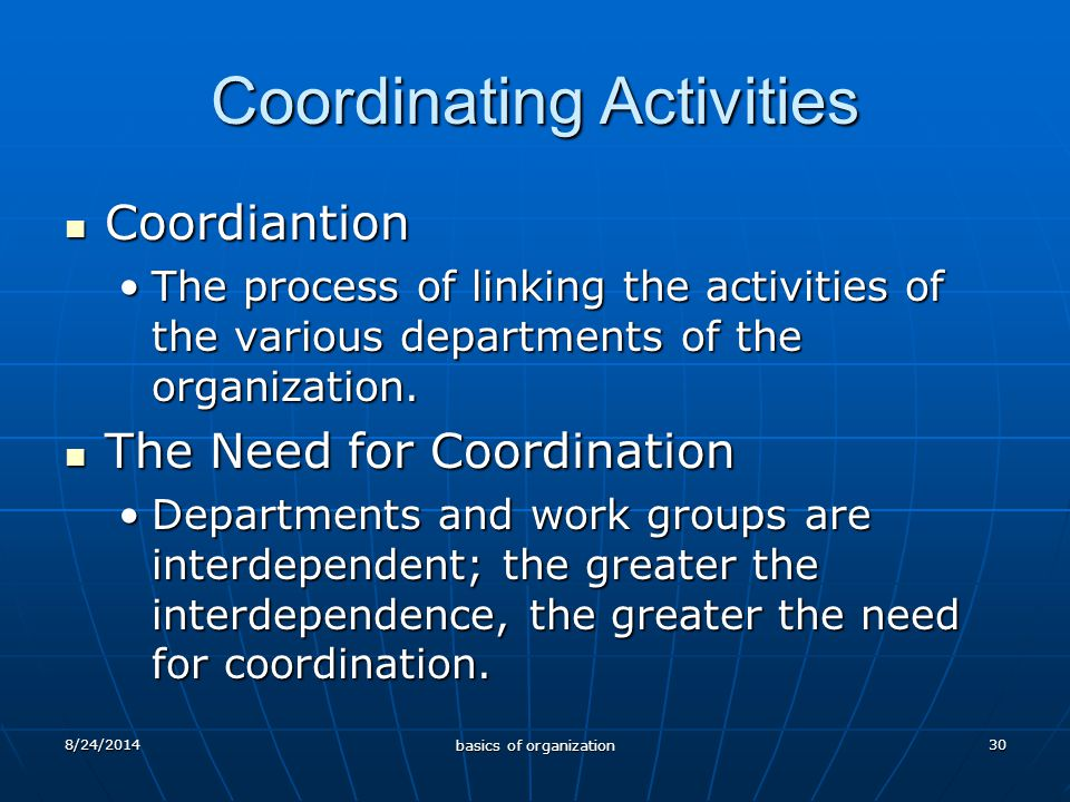 30 Coordinating Activities Coordiantion Coordiantion The process of linking the activities of the various departments of the organization.The process of linking the activities of the various departments of the organization.