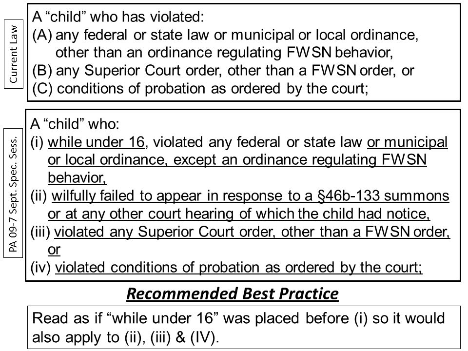 A child who: (i)while under 16, violated any federal or state law or municipal or local ordinance, except an ordinance regulating FWSN behavior, (ii) wilfully failed to appear in response to a §46b-133 summons or at any other court hearing of which the child had notice, (iii) violated any Superior Court order, other than a FWSN order, or (iv) violated conditions of probation as ordered by the court; A child who has violated: (A)any federal or state law or municipal or local ordinance, other than an ordinance regulating FWSN behavior, (B) any Superior Court order, other than a FWSN order, or (C) conditions of probation as ordered by the court; PA 09-7 Sept.