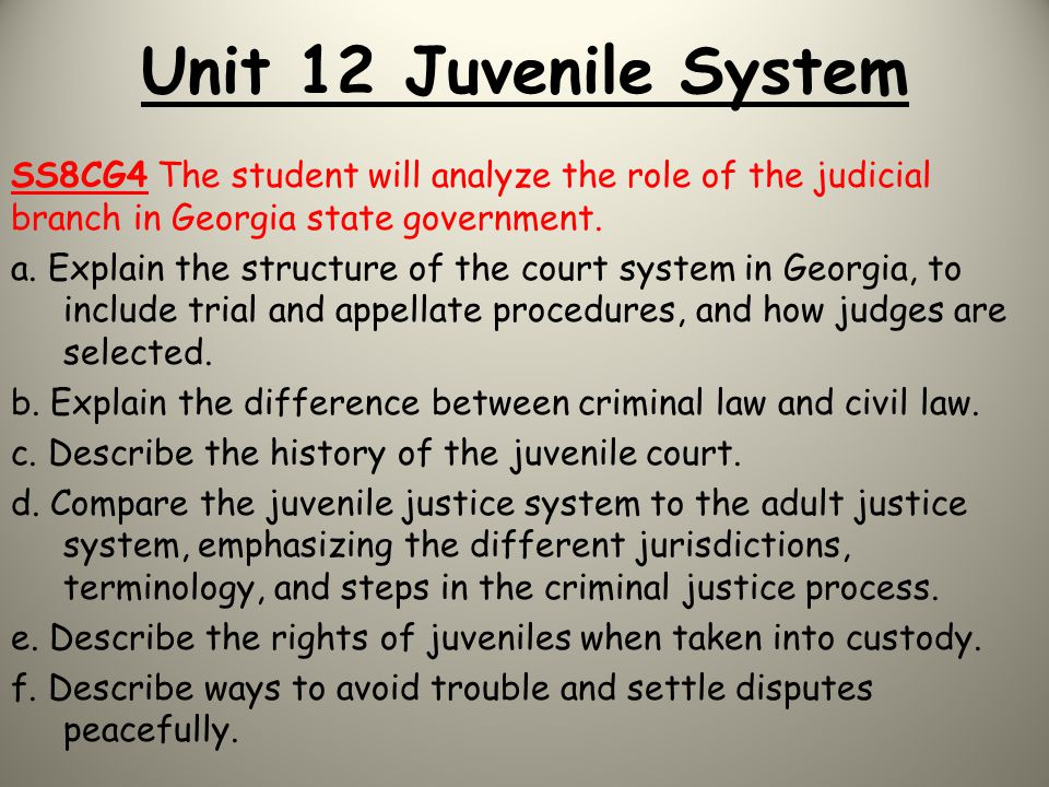 Unit 12 Juvenile System SS8CG4 The student will analyze the role of the judicial branch in Georgia state government. a. Explain the structure of the c