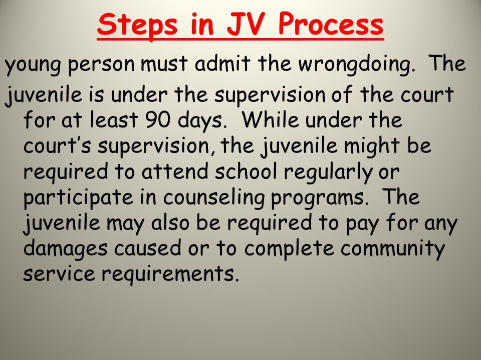 Steps in JV Process young person must admit the wrongdoing. The juvenile is under the supervision of the court for at least 90 days. While under the c