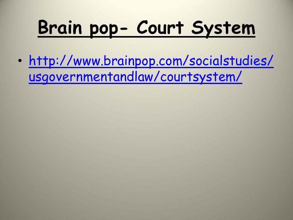 Brain pop- Court System http://www.brainpop.com/socialstudies/ usgovernmentandlaw/courtsystem/ http://www.brainpop.com/socialstudies/ usgovernmentandl