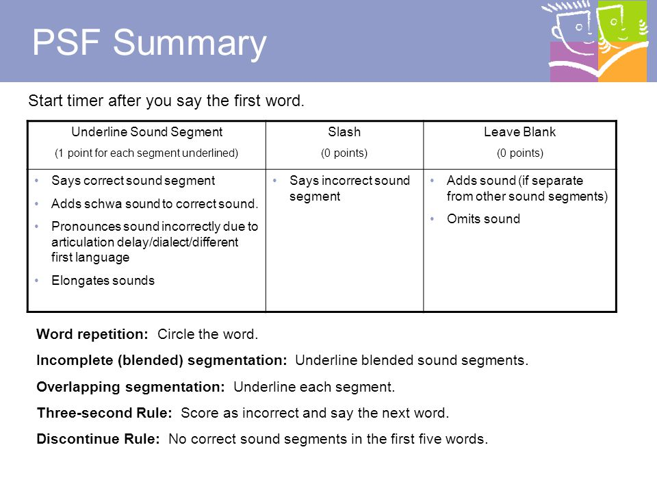 39 PSF Review How do I mark a completely segmented word.