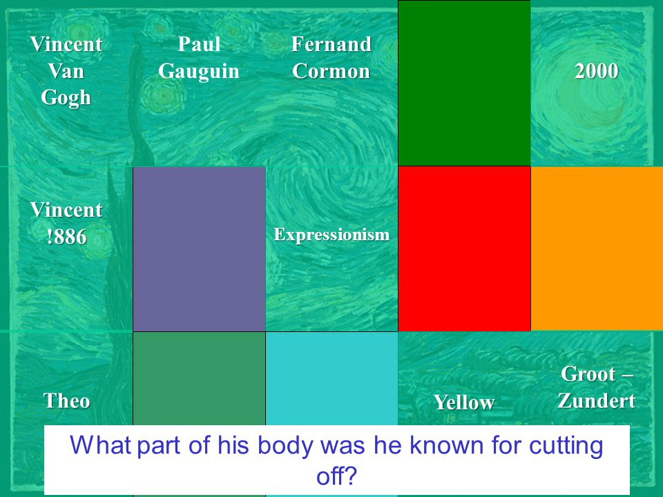 Courtesy of JC-netVincentVanGogh Groot – Zundert 2000Theo ExpressionismVincent!886FernandCormon Paul Gauguin Yellow What part of his body was he known for cutting off