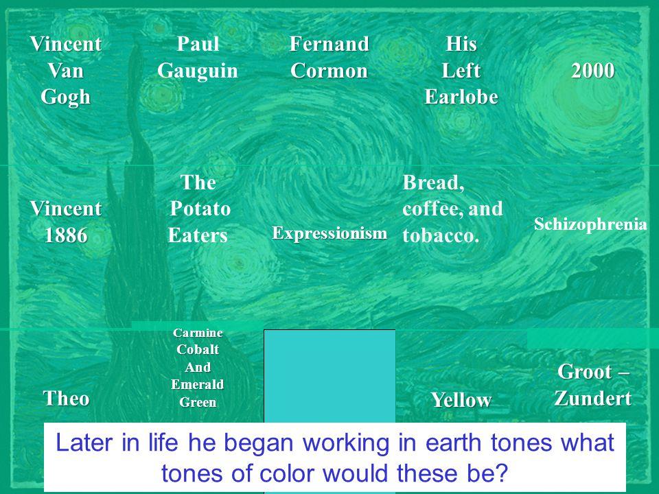 VincentVanGogh Groot – Zundert 2000Theo Vincent1886FernandCormon Paul Gauguin YellowHis Left Earlobe Schizophrenia The Potato Eaters Bread, coffee, an