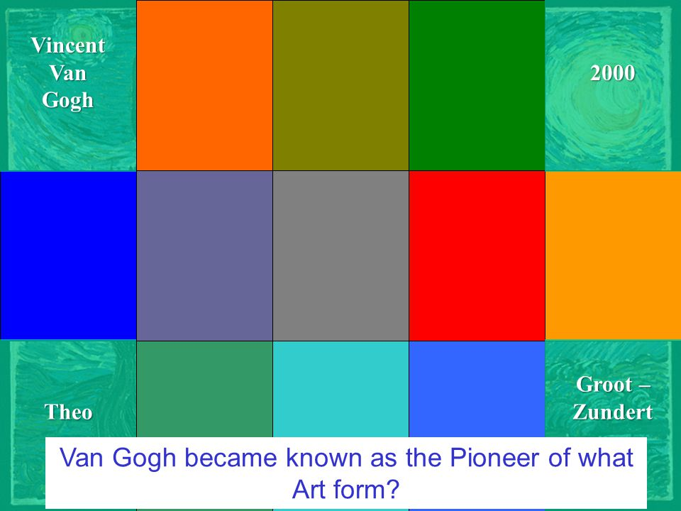 Courtesy of JC-netVincentVanGogh Groot – Zundert 2000Theo Van Gogh became known as the Pioneer of what Art form?