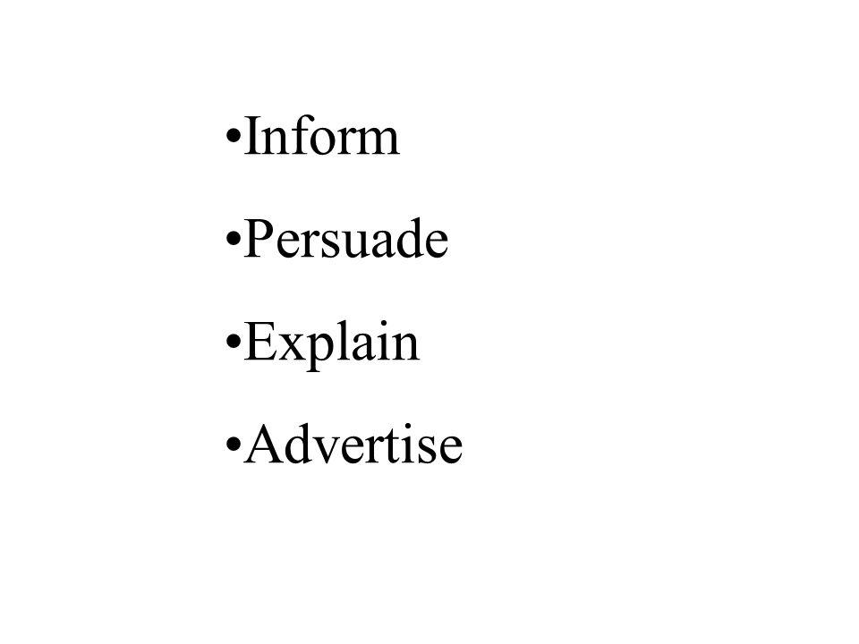 Inform Persuade Explain Advertise