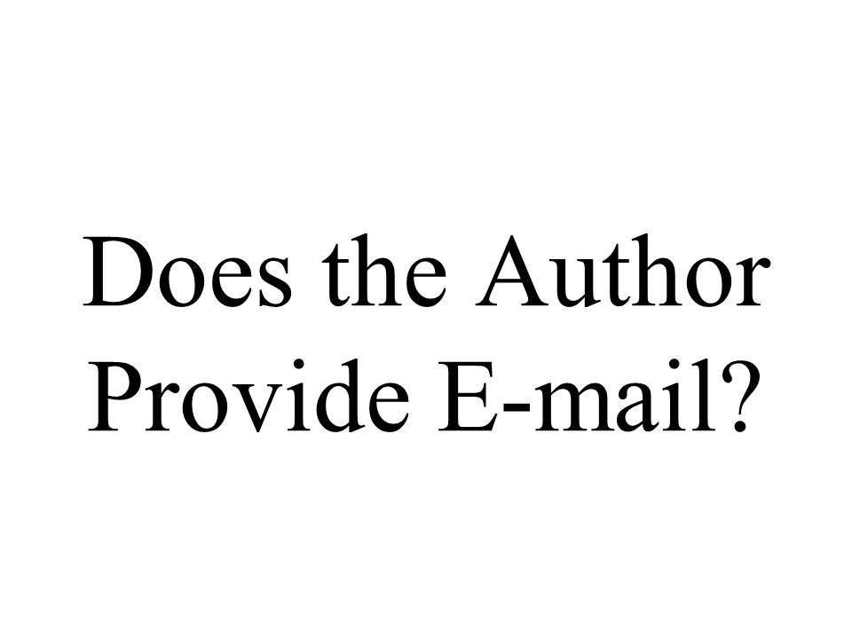 Does the Author Provide E-mail?