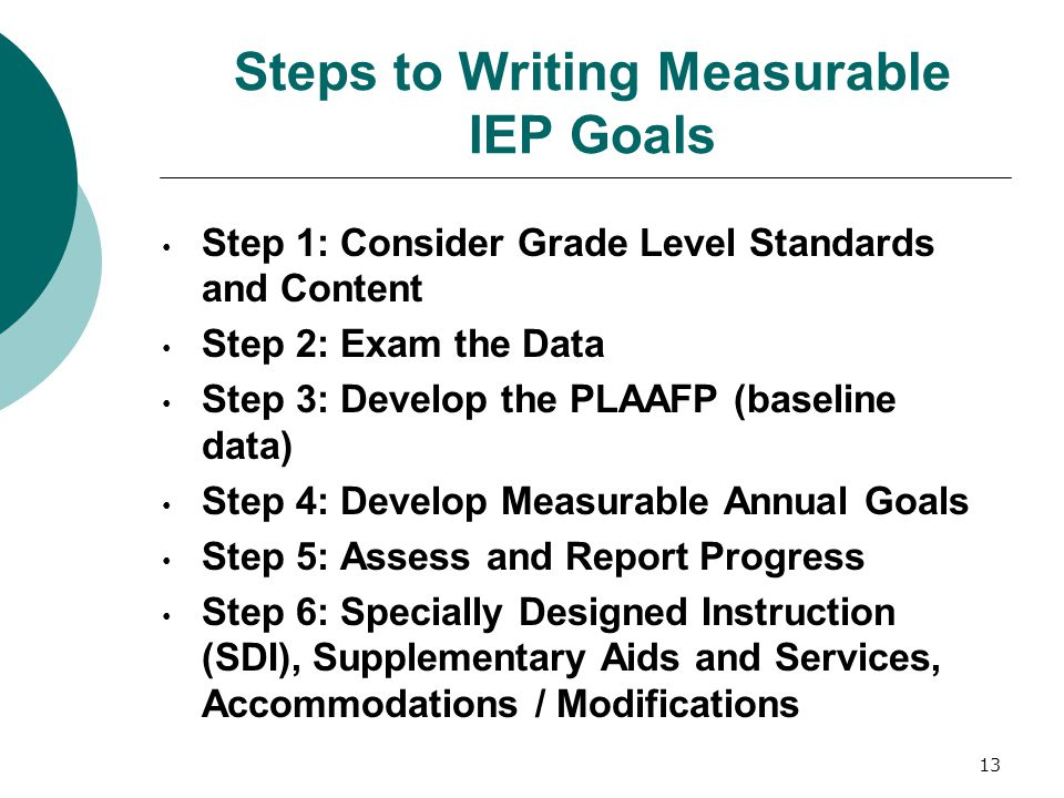 13 Steps to Writing Measurable IEP Goals Step 1: Consider Grade Level Standards and Content Step 2: Exam the Data Step 3: Develop the PLAAFP (baseline
