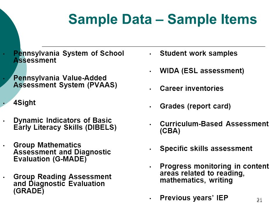 21 Sample Data – Sample Items Pennsylvania System of School Assessment Pennsylvania Value-Added Assessment System (PVAAS) 4Sight Dynamic Indicators of Basic Early Literacy Skills (DIBELS) Group Mathematics Assessment and Diagnostic Evaluation (G-MADE) Group Reading Assessment and Diagnostic Evaluation (GRADE) Student work samples WIDA (ESL assessment) Career inventories Grades (report card) Curriculum-Based Assessment (CBA) Specific skills assessment Progress monitoring in content areas related to reading, mathematics, writing Previous years' IEP