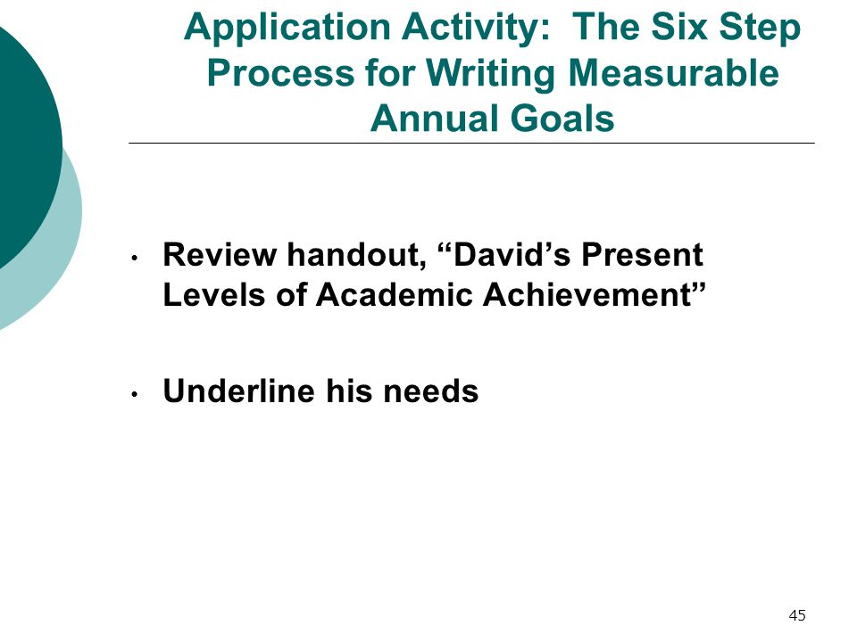"45 Application Activity: The Six Step Process for Writing Measurable Annual Goals Review handout, ""David's Present Levels of Academic Achievement"" Und"
