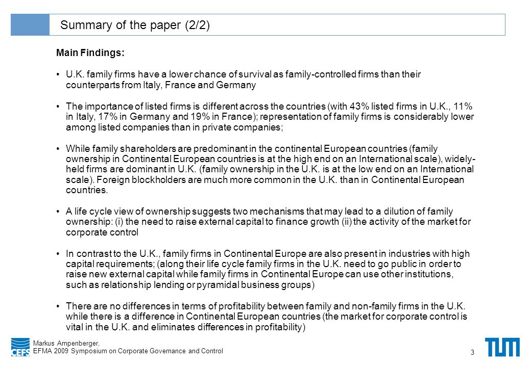 Klicken Sie, um das Titelformat zu bearbeiten Markus Ampenberger, EFMA 2009 Symposium on Corporate Governance and Control Summary of the paper (2/2) 3 Main Findings: U.K.