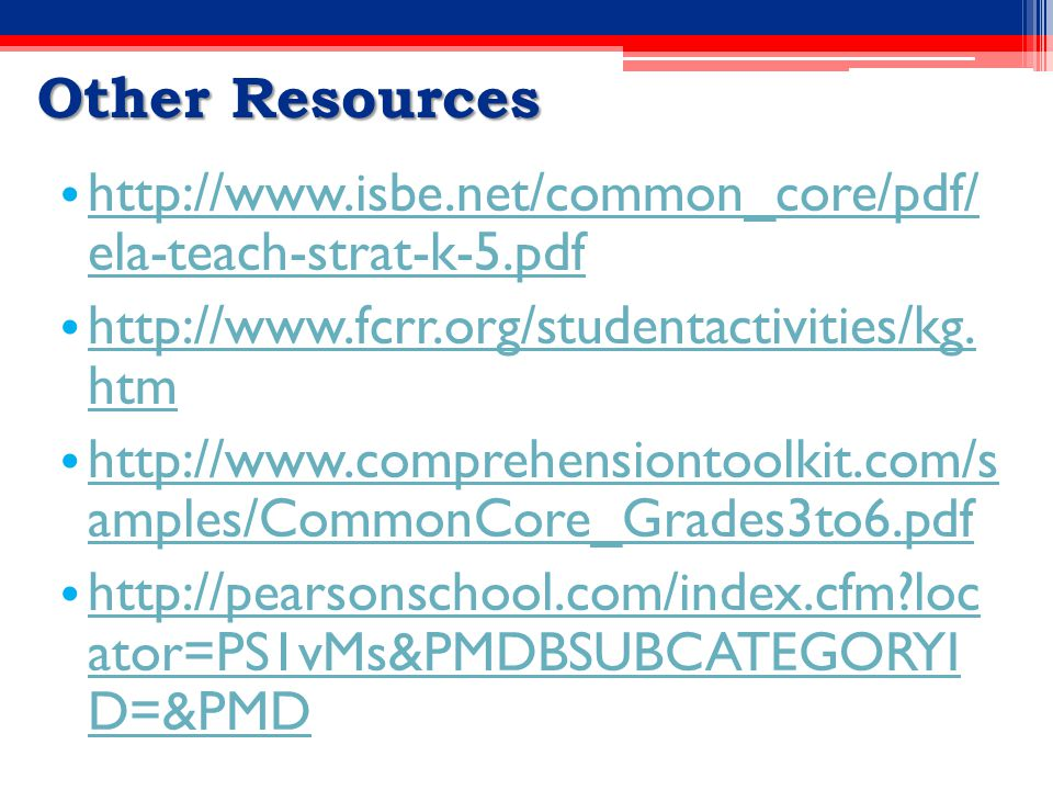Other Resources http://www.isbe.net/common_core/pdf/ ela-teach-strat-k-5.pdf http://www.isbe.net/common_core/pdf/ ela-teach-strat-k-5.pdf http://www.fcrr.org/studentactivities/kg.