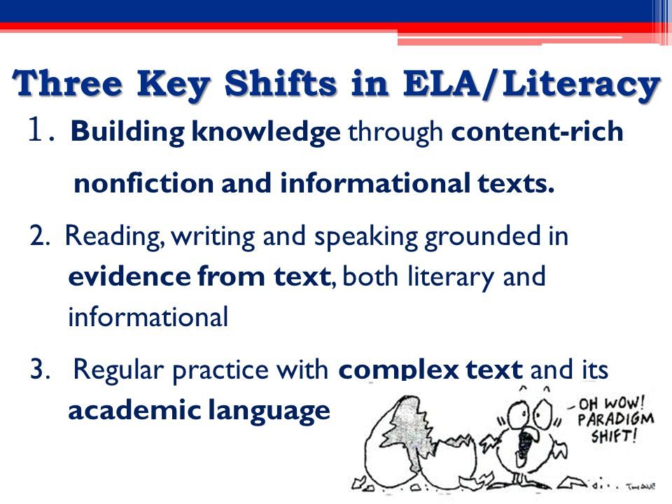 Three Key Shifts in ELA/Literacy 1.
