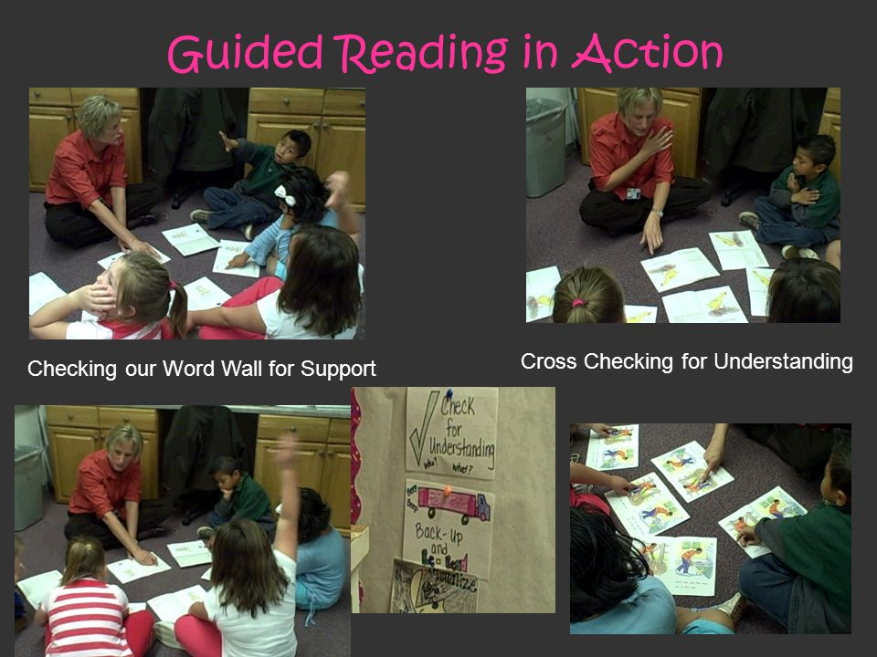 Guided Reading in Action Cross Checking for Understanding Checking our Word Wall for Support