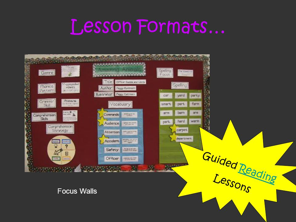 Lesson Formats… Focus Walls Guided ReadingReading Lessons